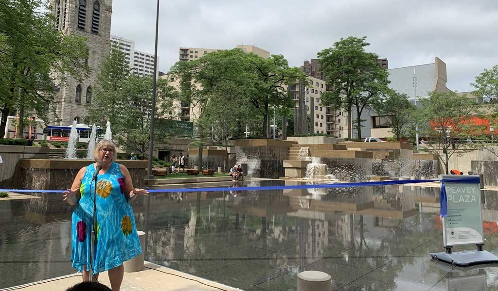 2025 plan leadership award recipient: Minneapolis City Council Member Lisa Goodman for her steadfast leadership of Peavey Plaza